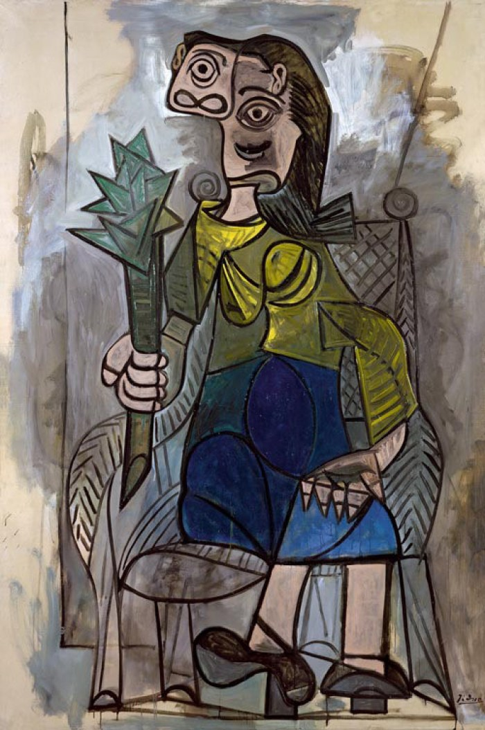 """Pablo Picasso """"La Femme à l'Artichaut"""" (The Woman with an Artichoke), 1941 (Museum Ludwig, Köln). The woman for which Dora Maar, Picasso's then partner, was the model, was painted during the turmoil of war. Here she is holding a very large phallic artichoke resembling a scepter or a medieval weapon"""