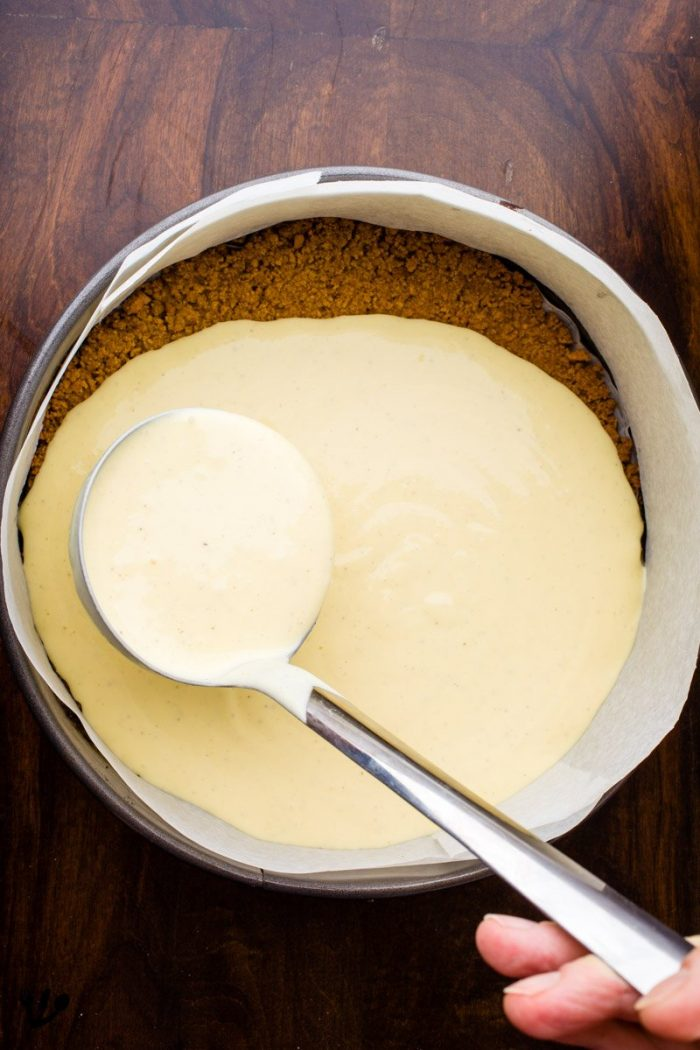 Simply pour the mixture over the crust and bake for 1 to 1 1/2 hours at 350°F (175°C) until the mixture is settled or until a knife comes out clean. No need for any water-bath.