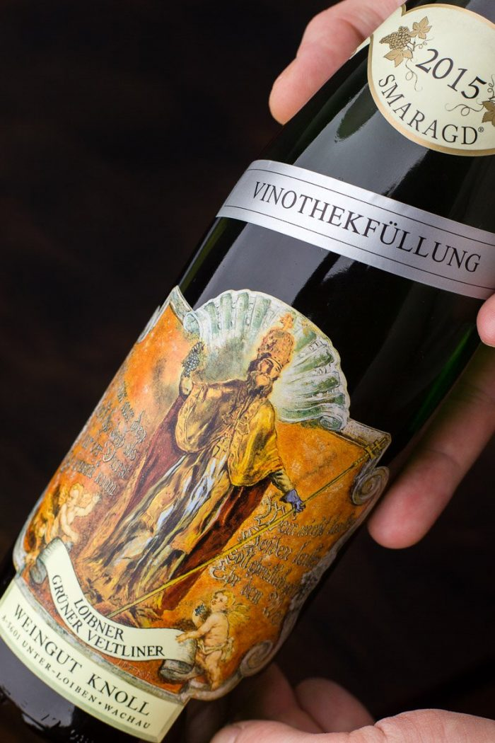 """The amusingly gaudy label of possibly the best Grüner Veltliner wine, the Smaragd """"Vinothekfüllung"""" by Weingut Knoll winery. 2015 was an exceptionally good year."""