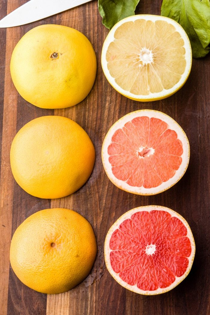 All grapefruit varieties are getting sweeter every year: Star Red (bottom), Ruby Red (middle), white (top)