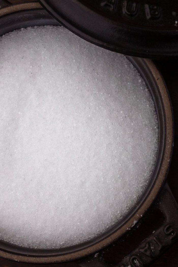 "Adapting to a world without kosher salt: Iodine-free table salt, ""fine"" like superfine sugar."