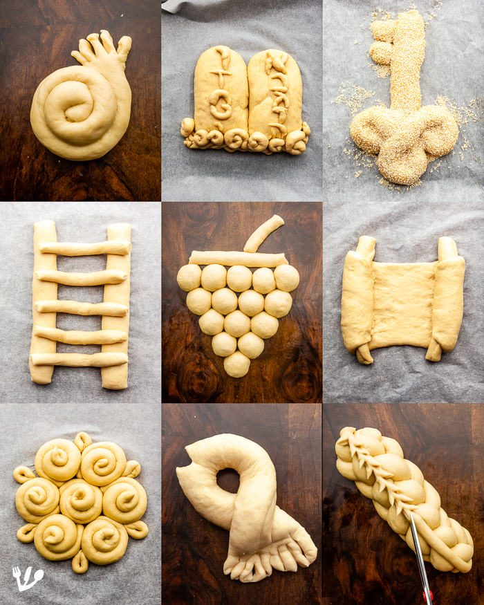 Popular challah shapes from TOP, left to right: 1) Round, spiral or coil-shaped challah for the holidays from Rosh Hashanah to Yom Kippur, honouring the Yom Kippur tradition when you shake hands to ask for pardon and for Hoshannah Raba, symbolic of reaching for a blessing, and that the verdict of Yom Kippur should be signed on that day. 2) The tablets of the law for Shavuos. 3) Key-shaped challah, shlissl-challah in Yiddish, for the first Shabbos after Pessach were the manna didn't fall any longer. MIDDLE: 1) Ladder, on Yom Kippur five or seven-rung referring to Jacob's dream on Hoshanah Raba. 2) Grapes for Sukkos. 3) Torah scroll for Simchas Torah and Shavuos. BOTTOM: 1.) Ornament. 2) Fish for Purim. 3) Six-stranded challah with an extra vav (sixth letter of the Hebrew alphabet) on top.