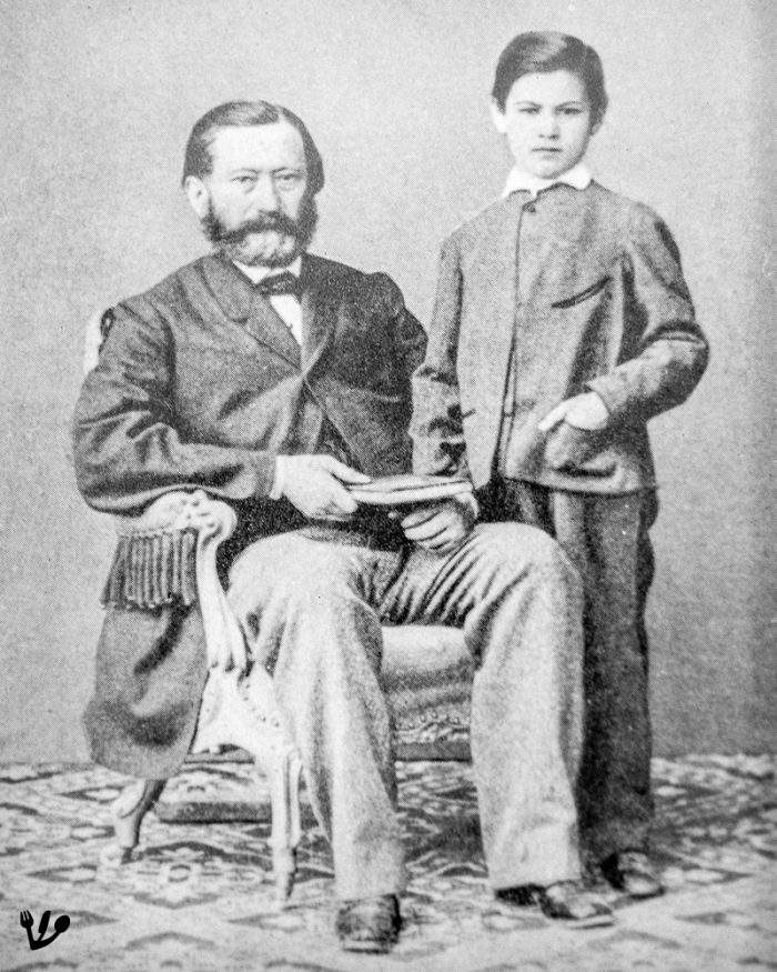 """Sigmund Freud, about eight, with his father, Jacob. (I couldn't find any picture showing Freud younger than on this well-known and widely circulated formal photo taken in a Viennese studio. This crop is from Freud's eldest son's, Martin, memories """"<a href=""""https://www.amazon.com/s/ref=nb_sb_noss?url=search-alias%3Daps&amp;field-keywords=Glory+Reflected+martin+freud&amp;rh=i%3Aaps%2Ck%3AGlory+Reflected+martin+freud"""" target=""""_blank"""" rel=""""noopener"""">Glory Reflected</a>"""")"""