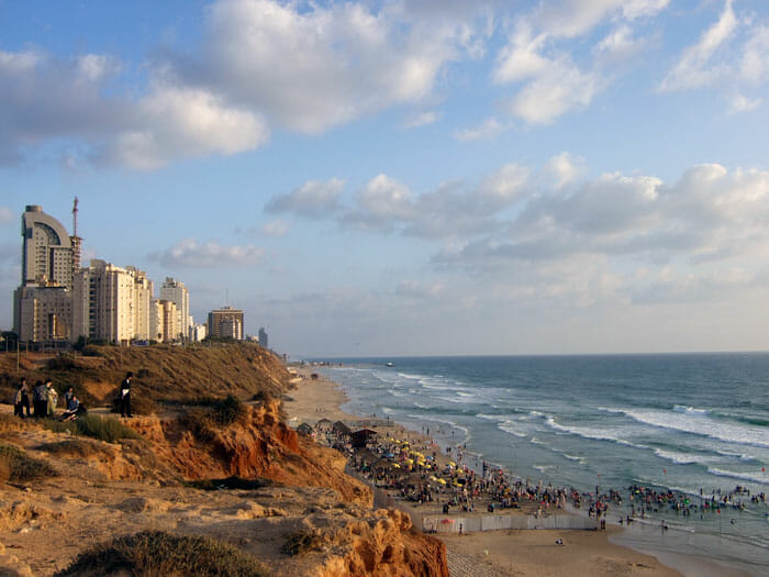Netanya's northern outskirts with the kosher beach