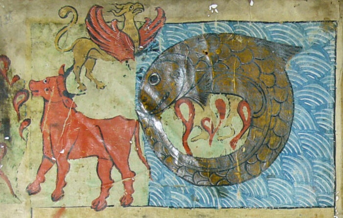 Strange giant mythological creatures of the primal Chaos: the Behemoth (on earth), the Ziz (in the sky), and the Leviathan (undersea) - Ulm, 1238 - Biblioteca Ambrosiana. The righteous will be feasting upon the Leviathan's flesh at the end of time protected by a canopy made out of her skin (Yes, the Leviathan is female). (photo: Wikimedia Commons)