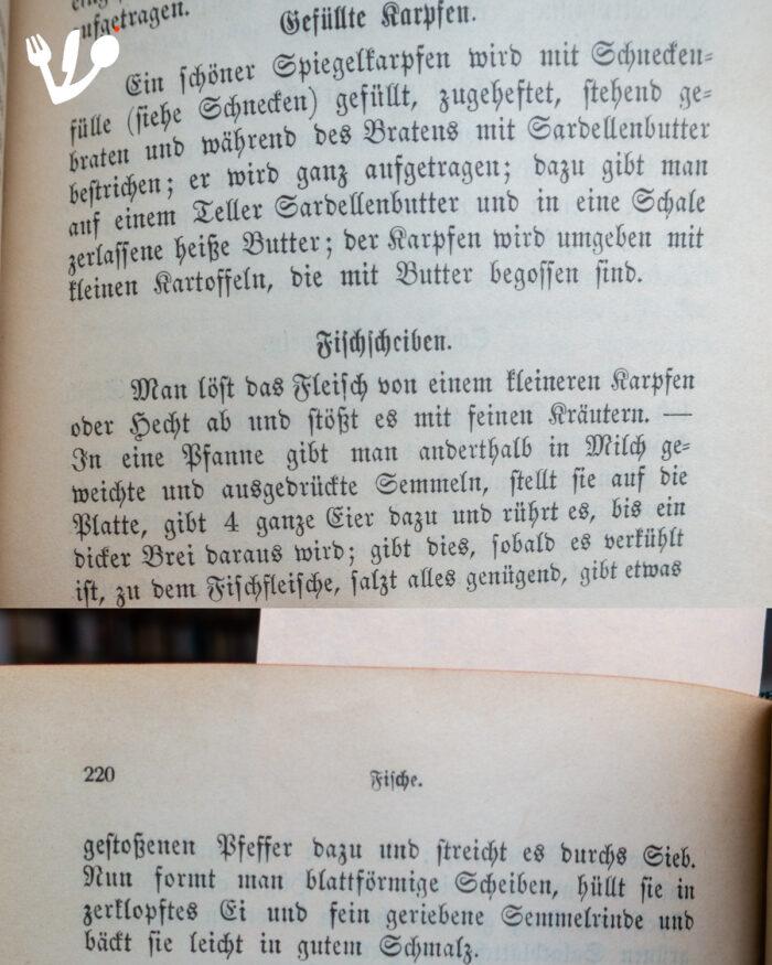 Kochbuch der Deutschen Schule in Prag 1894 - gefüllter Karpfen & Fischscheiben-2