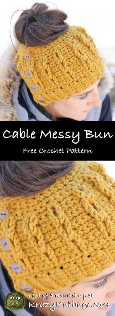 Messy Bun Beanie Hat Free Crochet Patterns – Krazy Kabbage