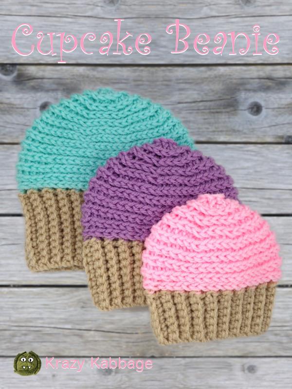 Cupcake Beanie Hat Free Crochet Pattern – Krazy Kabbage 503f912bc2f