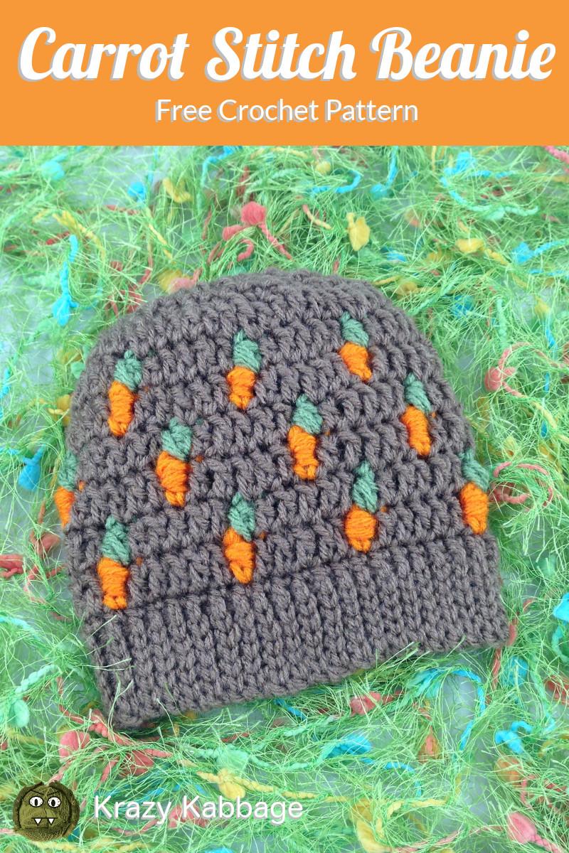 062a88ded00 Carrot Stitch Beanie Free Crochet Pattern – Krazy Kabbage