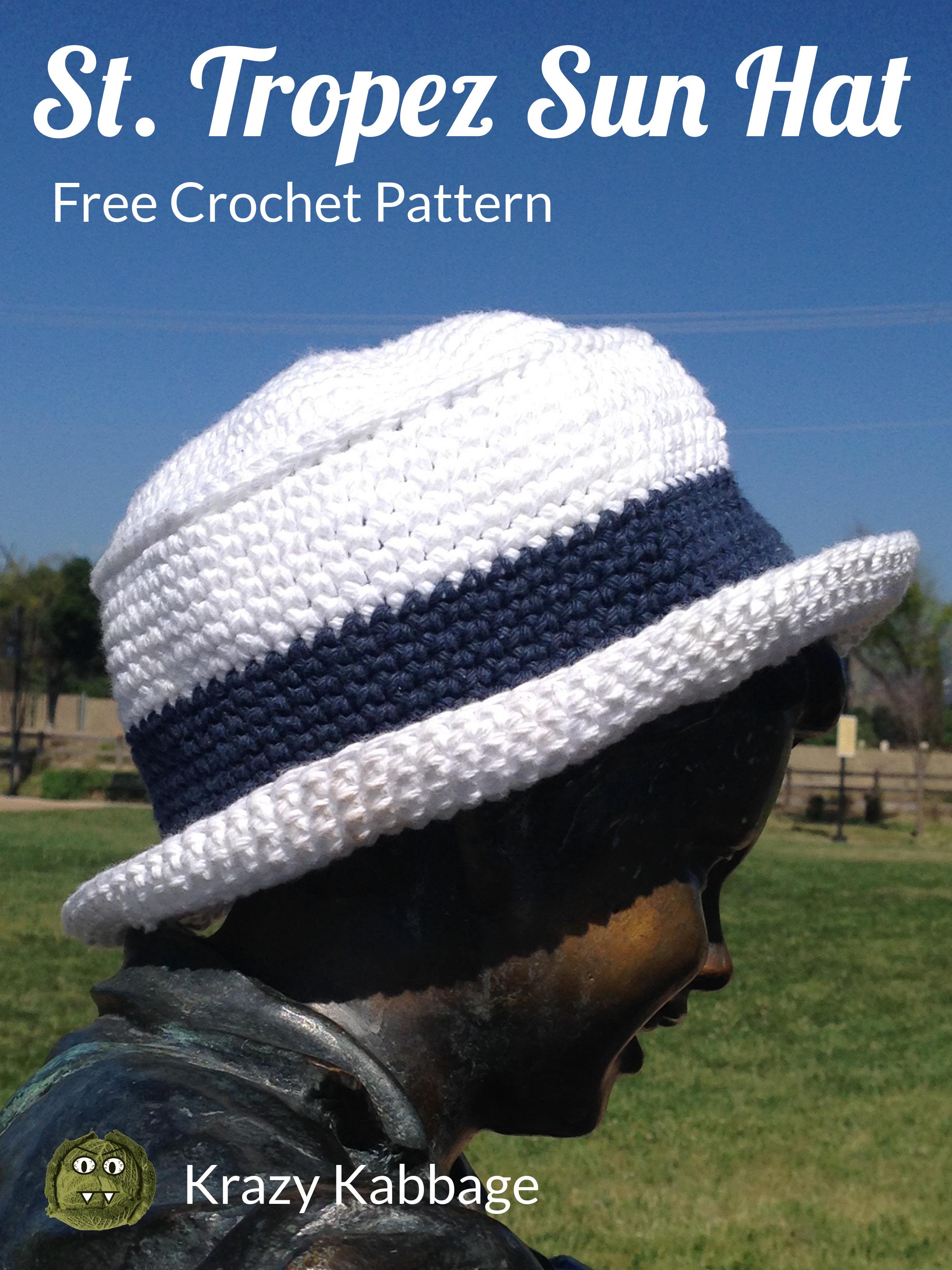 St. Tropez Sun Hat Free Crochet Pattern – Krazy Kabbage