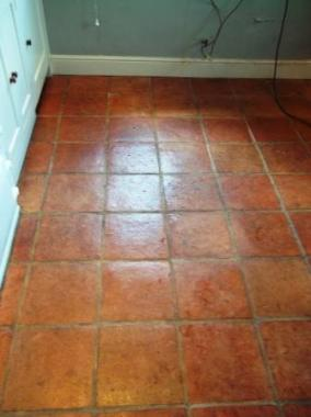Terracotta Floor Before Cleaning and Sealing