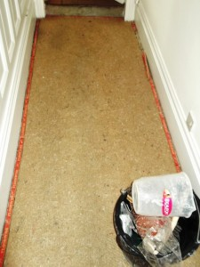 Victorian floor in Lancaster showing tile covered by Carpet