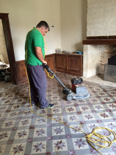Encaustic Cement Tile During Cleaning at the French Chateaux Reims