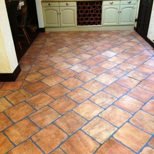 Grout Cleaning And Colouring For A Ceramic Terracotta Tiled Floor In