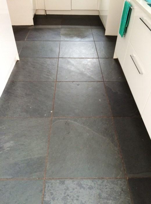 Brazilian Black Slate Before Cleaning Thornton Cleveleys