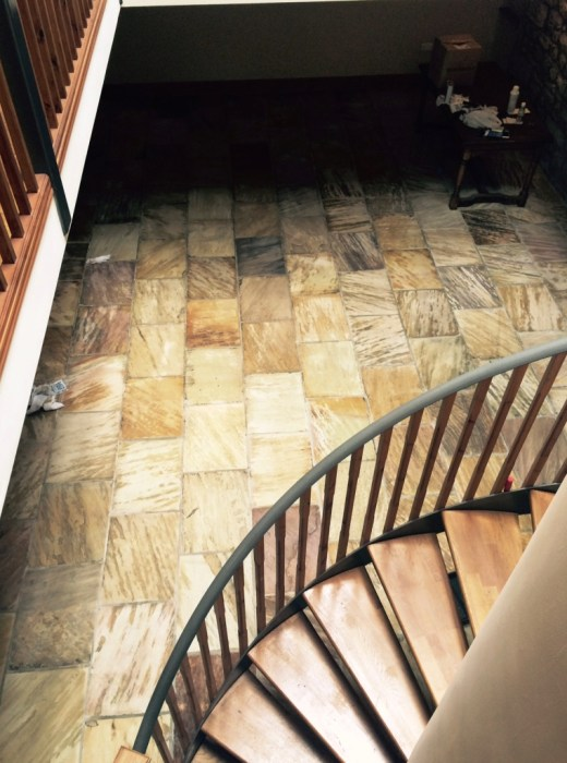 Indian sandstone floor Lancashire after restoration