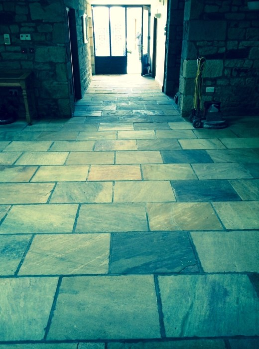 Indian sandstone floor Lancashire before restoration