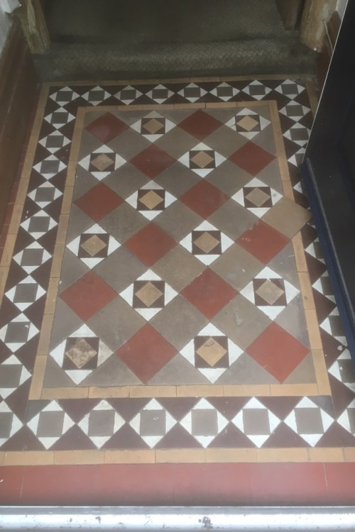 Edwardian Tiled Floor Before Cleaning in Lytham