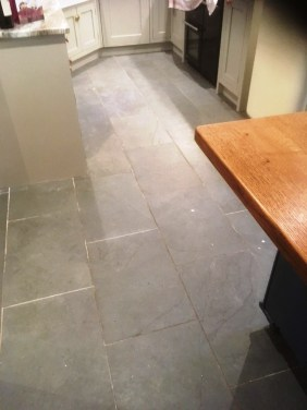 Semi-Riven Slate floor Before Cleaning Hornby
