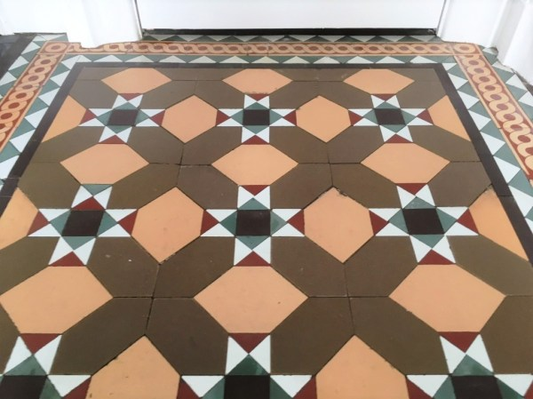 Victorian floor tiles after restoration Lancaster