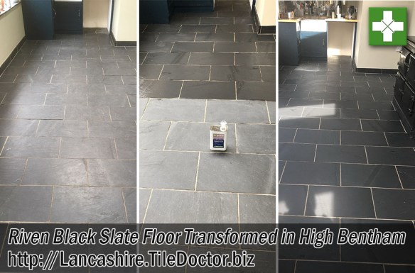 Slate Tiled Kitchen Floor Before and After Cleaning High Bentham