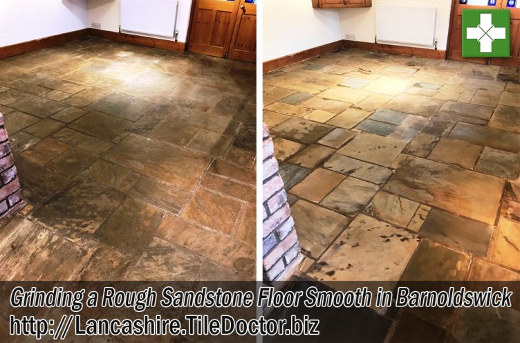 Textured Indian Sandstone Before After Grinding Smooth Barnoldswick