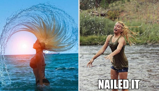 Water Hair Nailed It Fail image