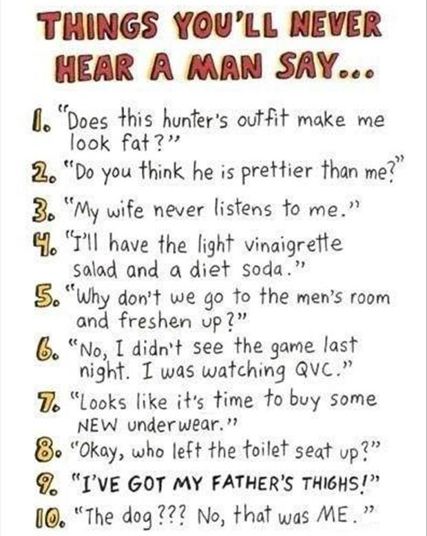Things Men Don't Say funny image