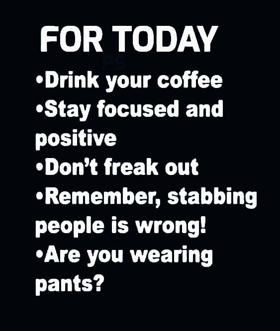 Checklist for today