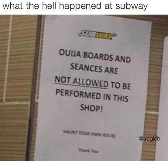 Not Allowed at Subway