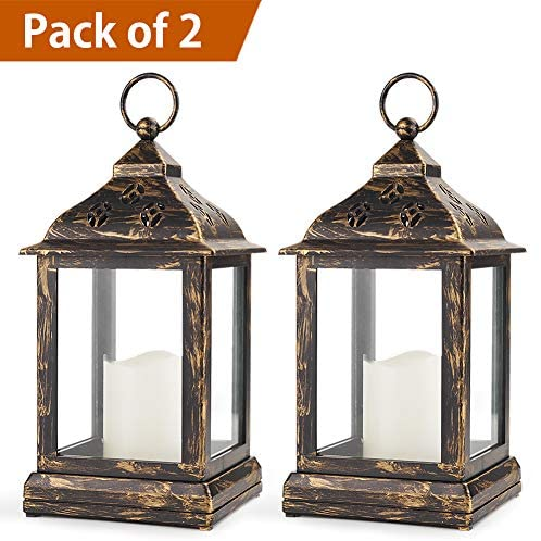 Bright Zeal 2-Pack 9″ Bronze Candle Lantern With LED Flameless Candle – Battery Lantern Decorative Candle Lanterns For Indoors -Hanging Lanterns Decorative Indoor Tabletop Lantern Timer Lantern Lights