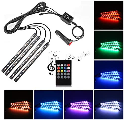 Uniwit Car LED Strip Light, 4 Pieces DC 12V 72 LED Multicolor Car Interior Music Light LED Underdash Lighting Kit with Sound Active Function and Wireless Remote Control Including Car Charger