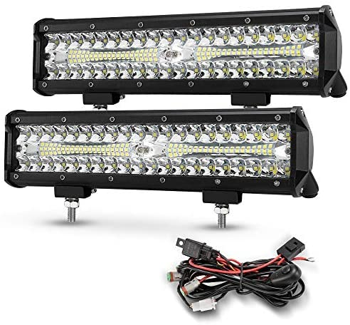 12 Inch Led Light Pods, 2Pcs 300W Off Road Driving LED Light Bar with 12Ft Wiring Harness Kit 68000LM Spot Flood Combo Beam Fog LED Bumper Light Waterproof for UTV ATV Jeep Truck Boat Marine