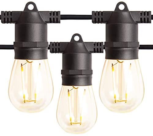 96FT Amico LED Outdoor String Lights with LED Edison Vintage Plastic Bulbs and Weatherproof Strand – Decorative LED Cafe Patio Light, Bistro Lights