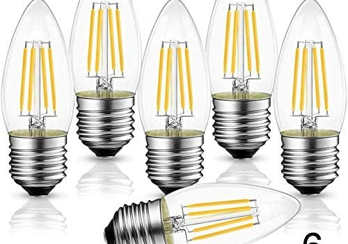 B11 4W LED Filament Bulb E26 Candelabra Base, WJDH Dimmable 40W Equivalent 3000K Soft White Chandelier Decorative Candle Light Bulb,Pack of 6