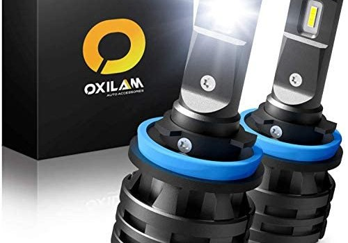 H11 LED Headlight Bulbs, 50W 10000 Lumens 6000K White Extremely Bright, 360 Degrees Illumination OXILAM Mini H11 LED Headlamps, Pack of 2
