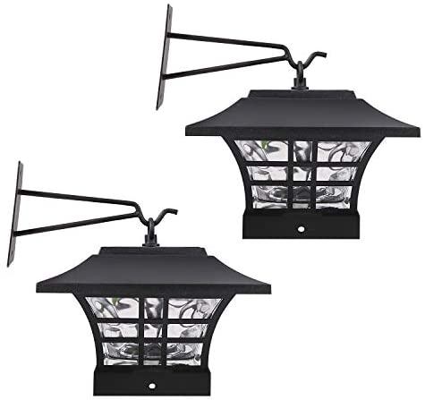 HECARIM Hanging Solar Lantern Lights, Outdoor Decorative LED Solar Powered Garden Lantern for Patio Landscape Yard with Wall Mount Kit, 2 Pack…
