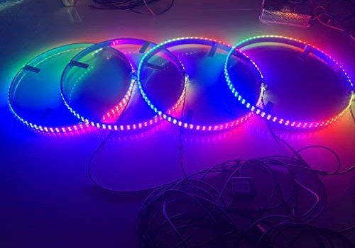 Sando Tech Dream Chasing Color Flow 15.5'' IP68 Waterproof Double Row 300Leds Brightest Strobe Led Wheel Ring Lights Rim Lights Car Tire Lights Blue-Tooth APP Control Multi-Colors – 4 Lights