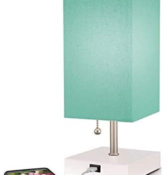 Modern Teal Aqua Small Table Lamp w USB Quick Charging Port, Great for LED Bedside, Desk, Bedroom, and Nightstand Lamps or Other Table Lights, Buy 2 or More for 5% Checkout Discount