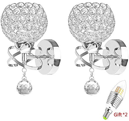 2 Pack Modern Style Decorative Crystal Wall Lights,ONEVER Bedside Wall Lamp Sconce for DIY Home Decor with E14 Socket Bulb Included as Gift (Silver)
