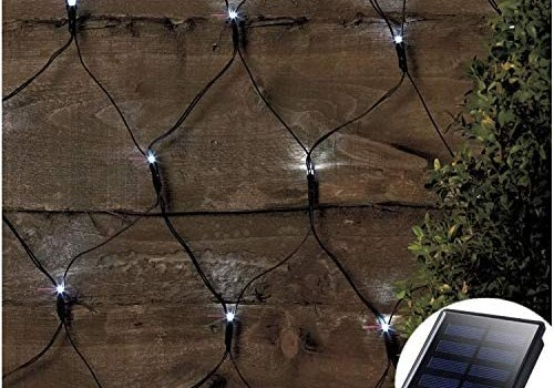 Solar Led Net Lights,9.8ft x 6.6ft 200 LEDs Net Mesh Tree-wrap Lights,Dark Green Cable,8 Modes Outdoor String Decorative Lights for Window Wall Sweetheart Table Background Camping Beach – White