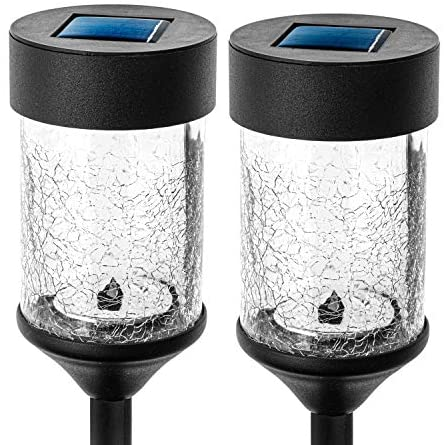 Home Zone Security Solar Pathway Light – Decorative Rotating LED Large Path Lights with Crackle Glass Housing, 2-Pack