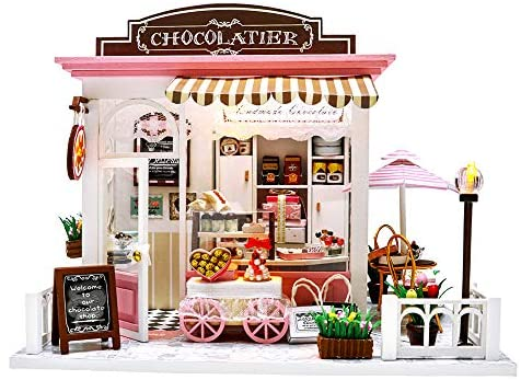 TODY Miniature Dollhouse Kit DIY Dollhouse Wooden Miniature Furniture Kit Mini Pink Chocolate Store with LED Light Sweet Birthday for Adults ,Girls 1:24 Scale with Dust Cover