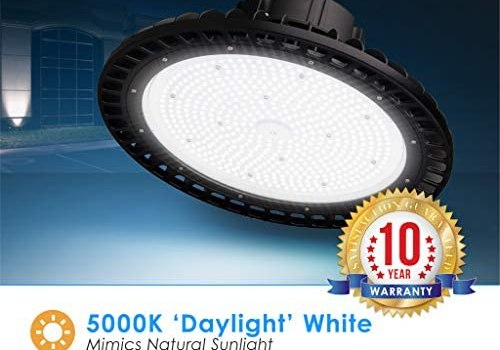 UFO 150 Watt LED Highbay- 10 YR Warranty- DLC & UL Listed- 19,500 Lumens- Waterproof IP-67-0-10v Dimmable – Daylight 5000K