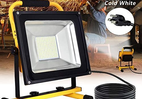 DLLT 60W Super Bright Led Work Light With Stand, Outdoor LED Flood Lights (500W Equivalent),19ft/6m Power Cord, Portable Light, Job Site Lighting for Construction Site, Jetty, Workshop, Garage