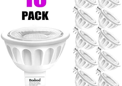 Boxlood MR16 LED Bulb Dimmable,5000K Daylight,5W 450lm-50Watt Halogen Replacement,DC 12-Volt, GU5.3 Bi-Pin Base,40 Degree Beam Angle, for Landscape, Recessed, Indoor/Outdoor Lighting, 10-Pack