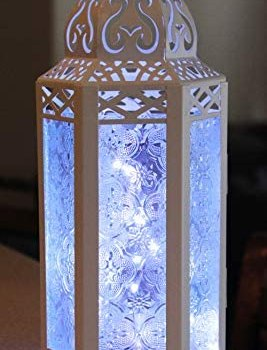 Vela Lanterns Moroccan Style Candle Lantern with LED Fairy Lights, Medium, Clear Glass, White