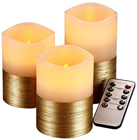 qinxiang Flameless Candles Flickering LED Candles Set of 3 (D:3″ X H:4″ 5″ 6″) Ivory Real Wax Gold Trim Pillar Battery Operated Candles with 10-Key Remote and Cycling 24 Hours Timer