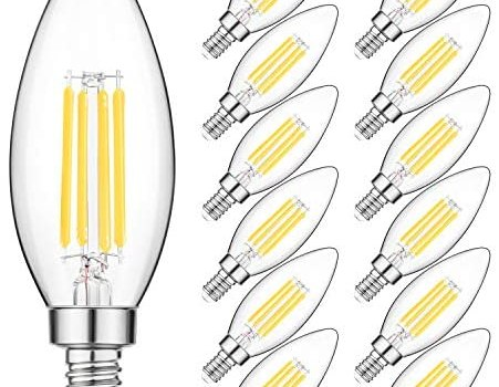 E12 LED Candelabra Light Bulbs 40W Equivalent, Daylight White 4000K Chandelier LED Filament Light Bulbs, 4W Decorative B11 Clear Glass Candle Lighting, Non-dimmable, Pack of 12