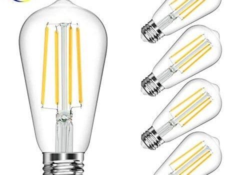 Vintage LED Edison Bulb, 6W, Equivalent 60W, Daylight White 4000k, Non-Dimmable Led Filament Light Bulb, E26 Base, High CRI 95+ Led Bulb, Clear Glass for Bathroom Kitchen Dining Room, Pack of 5